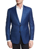 Houndstooth Wool Two-Button Sport Coat, Bright Navy