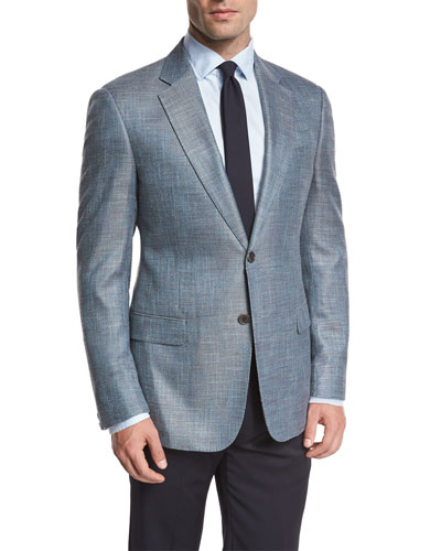 Textured Two-Button Sport Coat, Teal