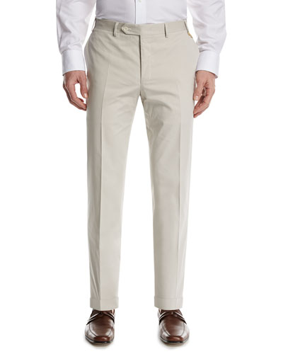 Stretch-Cotton Flat-Front Pants, Stone (Gray)