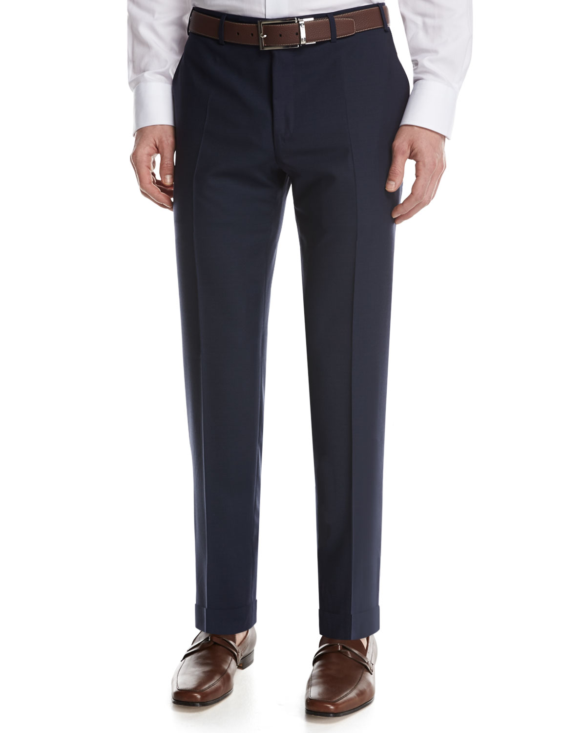 Solid Wool Flat-Front Pants, Blue