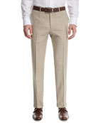 Mélange Flat-Front Pants, Tan (Brown)
