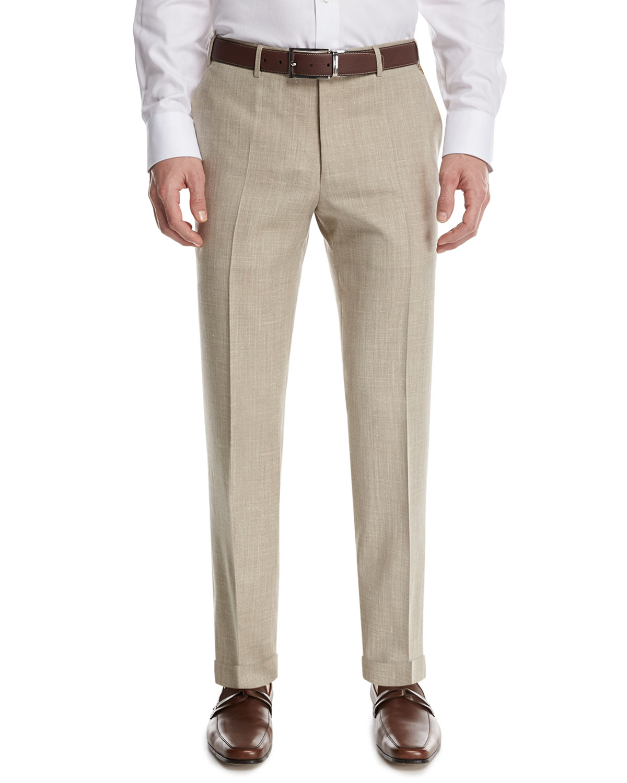 Mélange Flat-Front Pants, Tan (Brown)