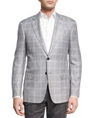 Plaid Two-Button Sport Coat, Light Silver/Gray