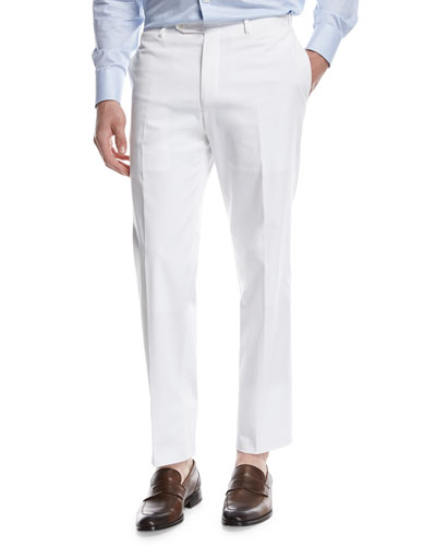 Stretch-Cotton Flat-Front Dress Pants, White