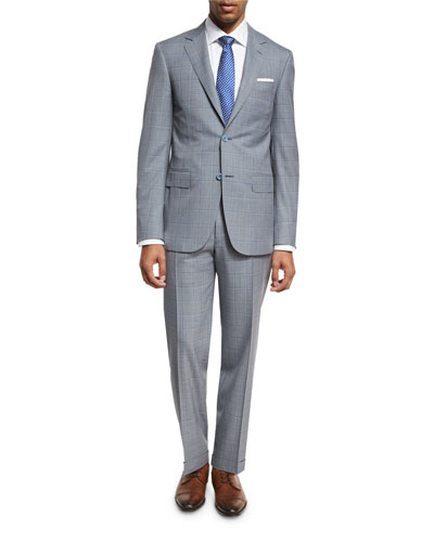 Windowpane Check Wool Two-Piece Suit, Gray