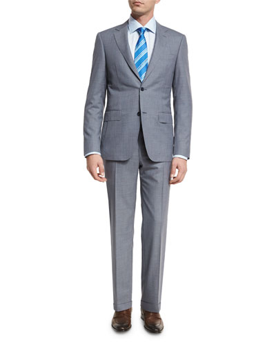 Pencil-Stripe Wool Two-Piece Suit, Gray/Navy