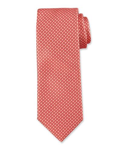 Wave-Pattern Silk Tie, Orange