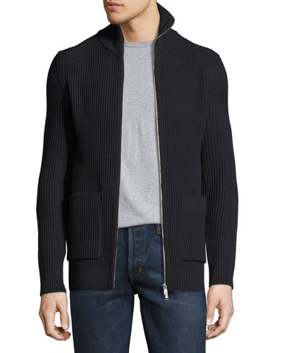 Ronzons LR Barnev Ribbed Zip-Front Sweater, Black