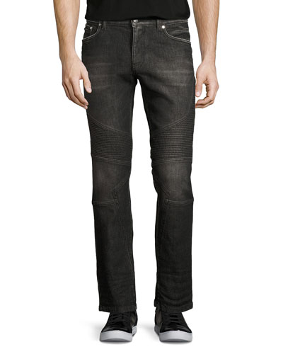 Dark-Wash Denim Moto Jeans, Black