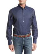 Tonal Glen Plaid Sport Shirt, Steel Blue