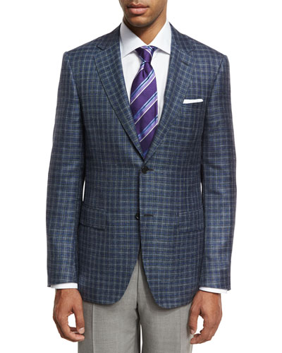 Box Check Two-Button Sport Coat, Gray/Blue