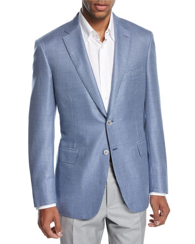 Check Wool-Silk Two-Button Sport Coat, Blue/White