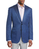 Textured Wool-Silk Two-Button Sport Coat, Blue