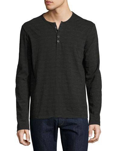 Space-Dyed Henley T-Shirt, Asphalt