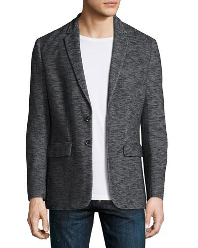 Space-Dye Knit Blazer, Charcoal