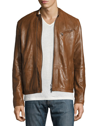 Laser-Cut Leather Racer Jacket, Brown