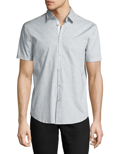 Dot-Print Slim-Fit Short-Sleeve Sport Shirt, Gray