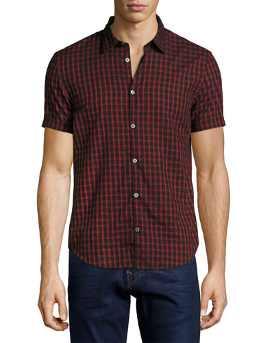 Check Cotton Slim-Fit Short-Sleeve Sport Shirt