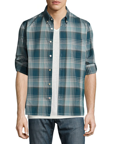 Slim-Fit Plaid Sport Shirt, Blue