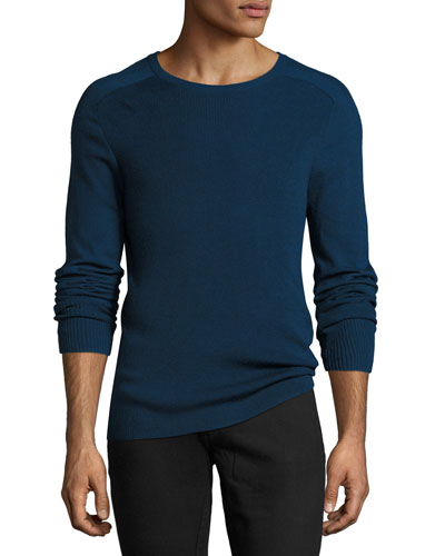 Cold-Dye Herringbone-Stitch Crewneck Sweater, Blue