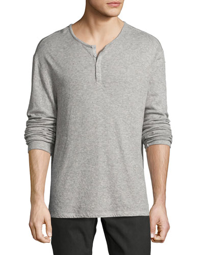 Lightweight Mini-Jacquard Henley Sweater
