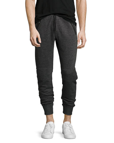 Marled Knit Sweatpants, Black