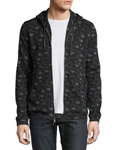 Camo-Print Zip-Front Hoodie, Black
