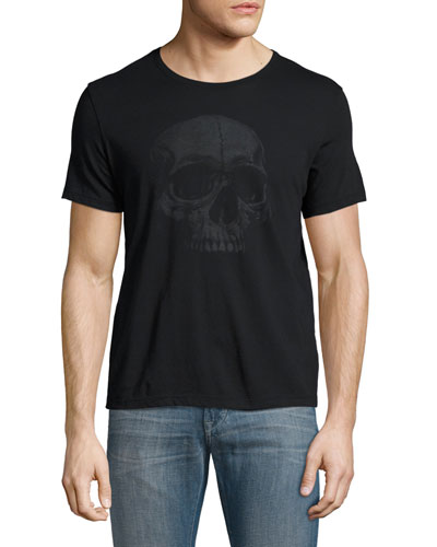 Skull Graphic Crewneck T-Shirt, Black