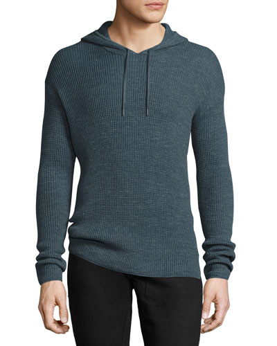 Waffle-Knit Pullover Hoodie, Dusty Blue