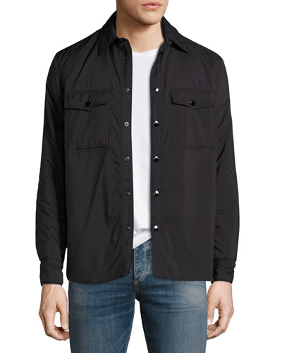 Point Snap-Front Shirt Jacket, Black