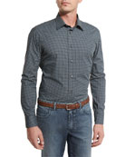 Geometric-Print Sport Shirt, Navy Blue/Green
