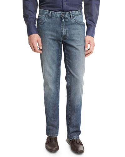 Dark-Wash Denim Straight-Leg Jeans, Blue