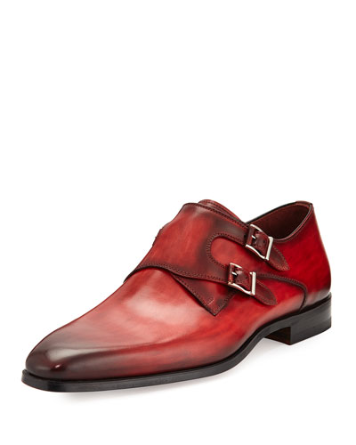 Burnished Leather Double-Monk Shoe, Red