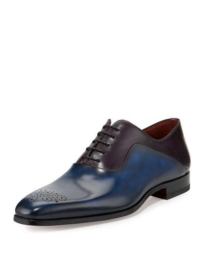 Two-Tone Medallion-Toe Oxford Shoe, Blue/Purple