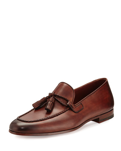 Leather Loafer with Woven Tassels, Medium Brown
