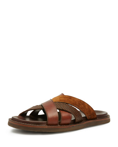 Men's Andrew Leather & Suede Strap Sandal, Brown