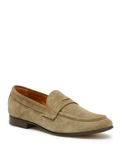 Men's Aiden Suede Penny Loafer, Gray
