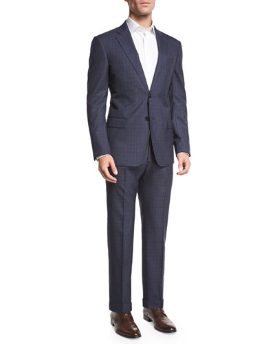 Textured Windowpane Check Two-Piece Suit, Navy