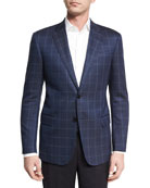Herringbone Windowpane Two-Button Sport Coat, Navy