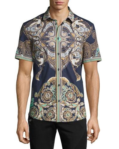 Baroque Short-Sleeve Sport Shirt, Navy