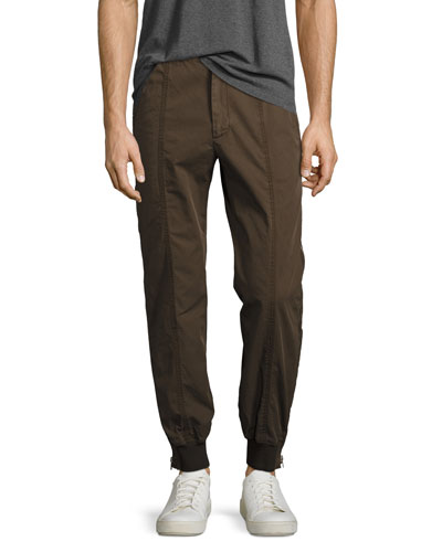 Jogger Pants with Full-Length Side Zips, Olive/Khaki