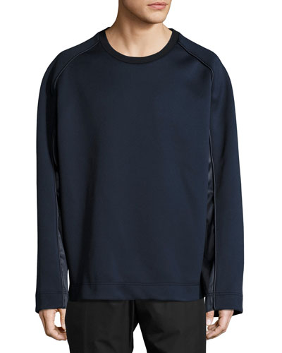 Satin & Neoprene Crewneck Sweatshirt, Navy
