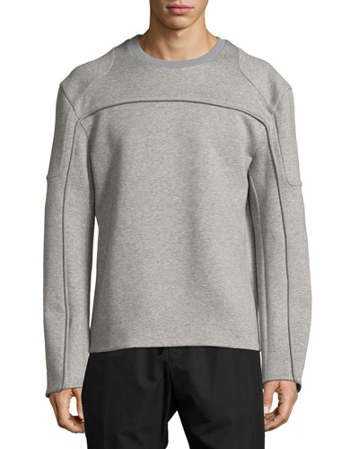 Reverse-Seam Mélange Neoprene Sweatshirt, Gray