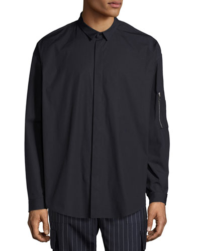 Woven Concealed-Placket Shirt with Zip Pocket, Navy