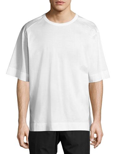 Woven-Back Crewneck T-Shirt, White