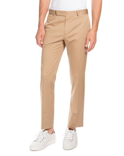 Stretch-Cotton Flat-Front Trousers, Tan