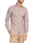 Geometric-Print Sport Shirt, Burgundy