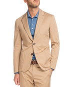 Cotton Two-Button Blazer, Tan