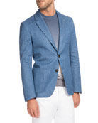 Chambray Two-Button Blazer, Medium-Light Blue