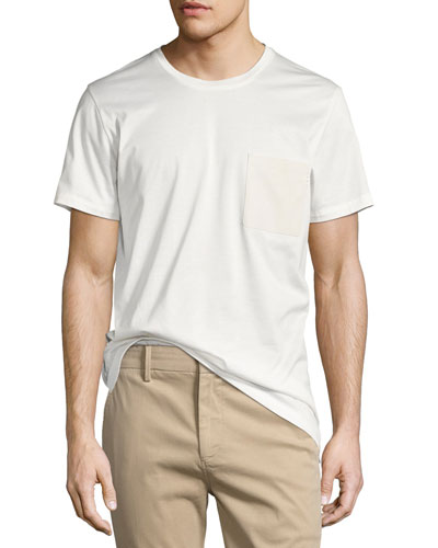 Leather-Pocket Cotton Jersey T-Shirt